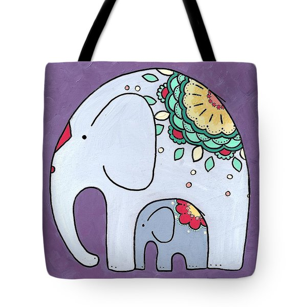 Elephant And Child - On Purple Tote Bag
