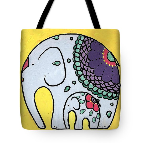 Elephant And Child On Yellow Tote Bag