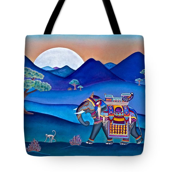 Elephant And Monkey Stroll Tote Bag by Lori Miller