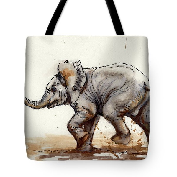 Tote Bag featuring the painting Elephant Baby At Play by Margaret Stockdale