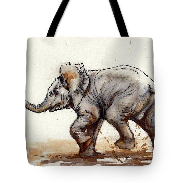 Elephant Baby At Play Tote Bag