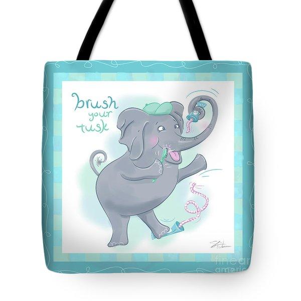 Elephant Bath Time Brush Your Tusk Tote Bag