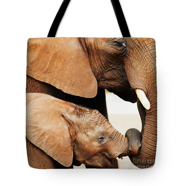 Elephant Calf And Mother Close Together Tote Bag