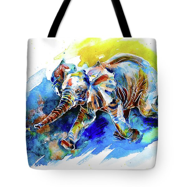 Tote Bag featuring the painting Elephant Calf Playing With Butterfly by Zaira Dzhaubaeva
