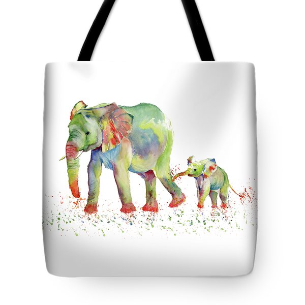 Elephant Family Watercolor  Tote Bag