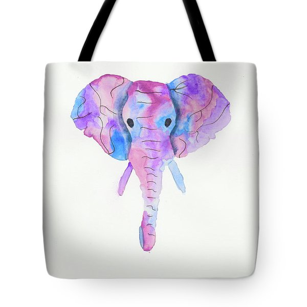 Elephant Head In Watercolour  Tote Bag