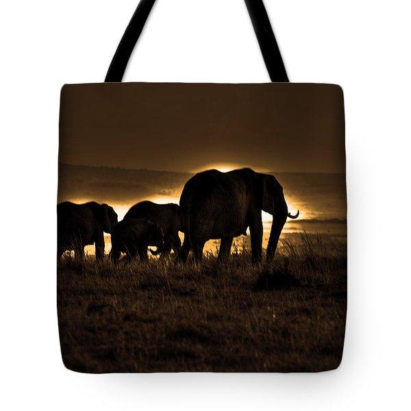 Elephant Herd On The Masai Mara Tote Bag