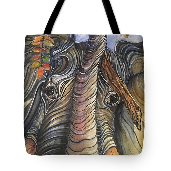 Elephant Holding A Tree Branch Tote Bag