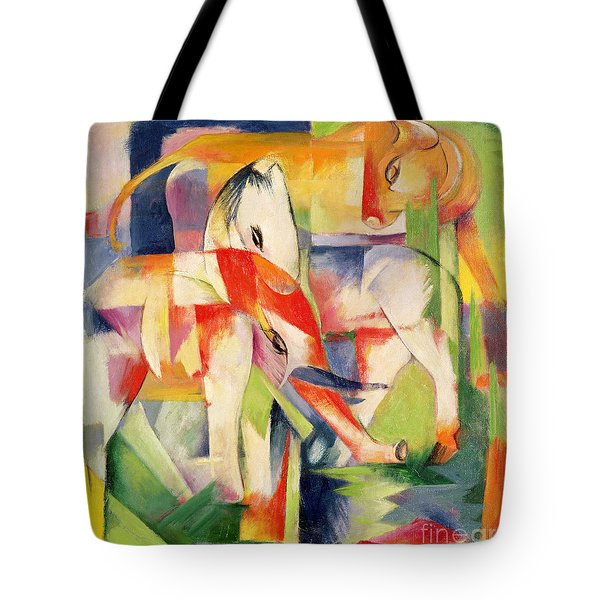 Elephant Horse And Cow Tote Bag by Franz Marc