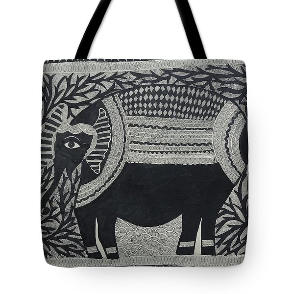 Elephant In Medni Mithila Painting From Emithilahaat Tote Bag