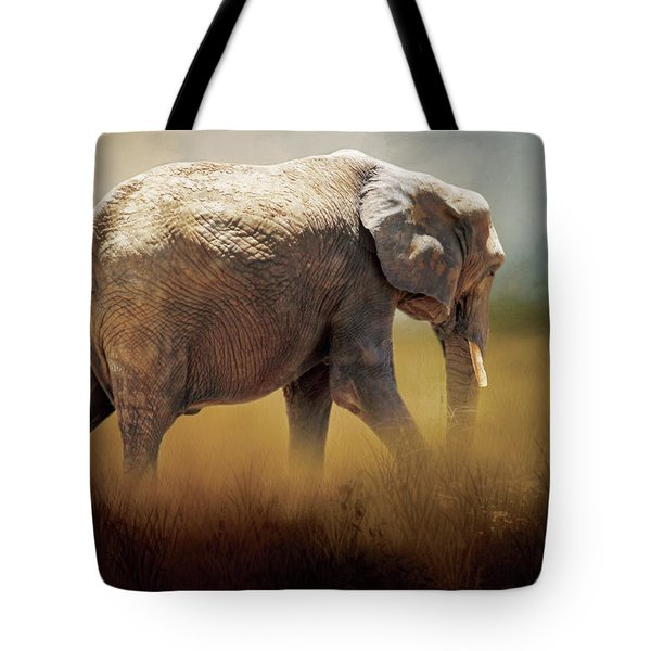 Tote Bag featuring the photograph Elephant In The Mist by David and Carol Kelly