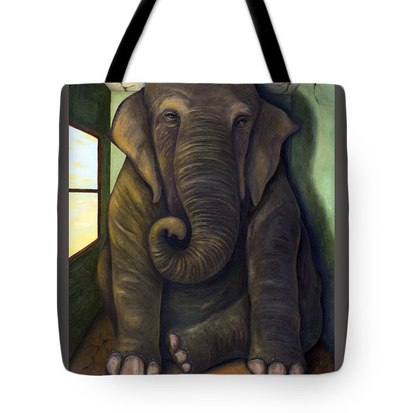 Elephant In The Room With Lettering Tote Bag