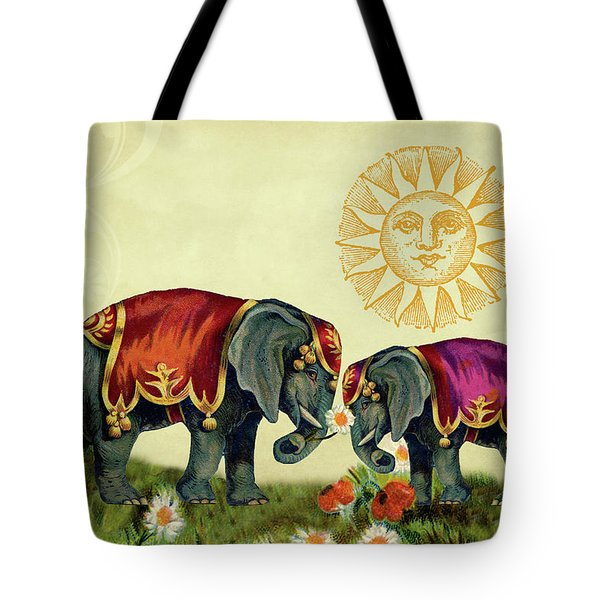 Tote Bag featuring the mixed media Elephant Love by Peggy Collins
