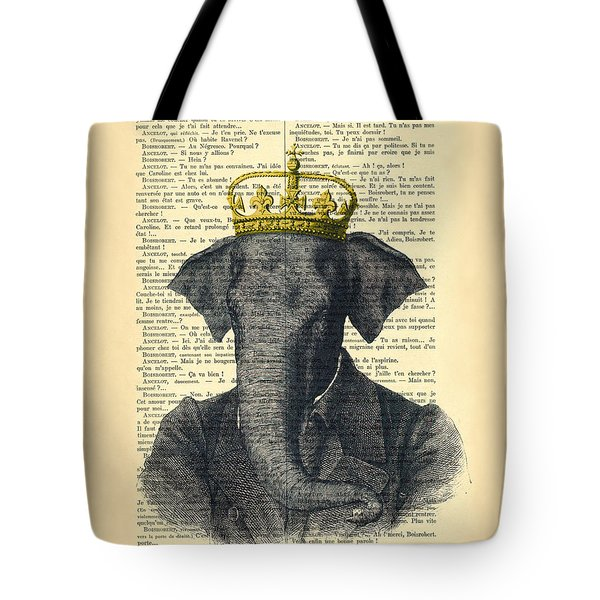 Elephant With Crown Nursery Decor Tote Bag