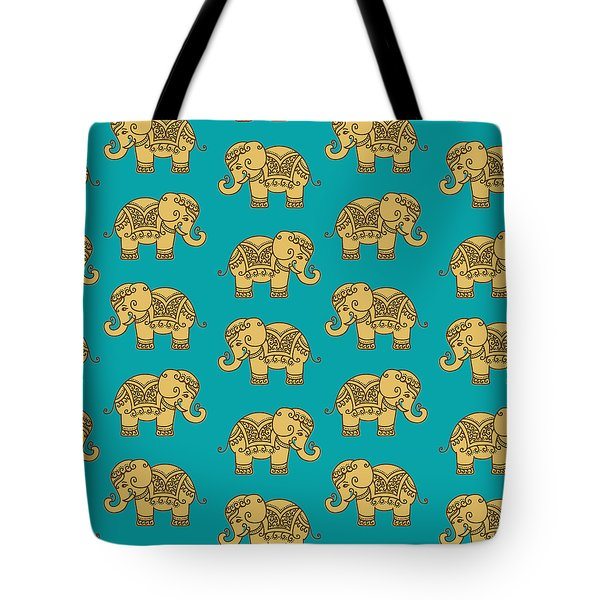 Elephant Pattern Tote Bag by Krishna Kharidehal