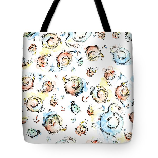 Elephant Pattern Watercolor Tote Bag