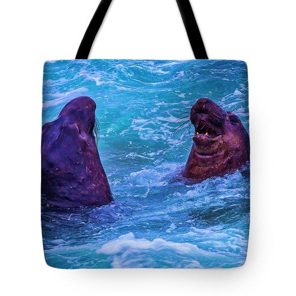 Elephant Seals Fighting In Ocean Surf Tote Bag