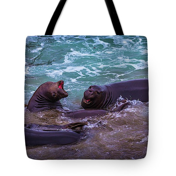 Elephant Seals Fighting In The Surf Tote Bag
