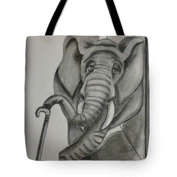 Tote Bag featuring the drawing Elephant Still Waiting by Kelly Mills