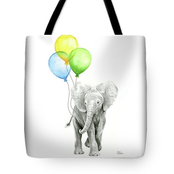 Elephant Watercolor Baby Animal Nursery Art Tote Bag