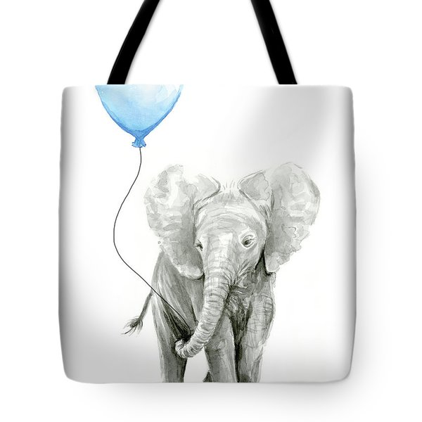 Elephant Watercolor Blue Nursery Art Tote Bag
