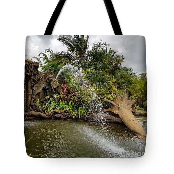 Elephant Waterfall Tote Bag