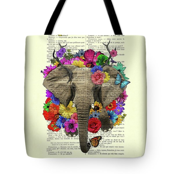 Elephant With Colorful Flowers Illustration Tote Bag