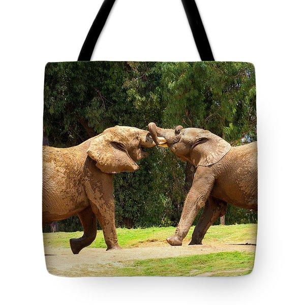Elephants At Play 2 Tote Bag