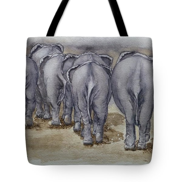 Elephants Leaving...no Butts About It Tote Bag