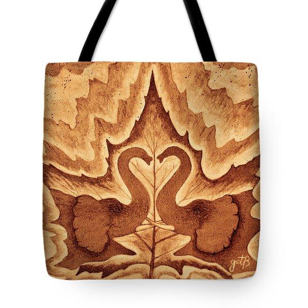 Elephants Love Original Coffee Painting Tote Bag by Georgeta Blanaru