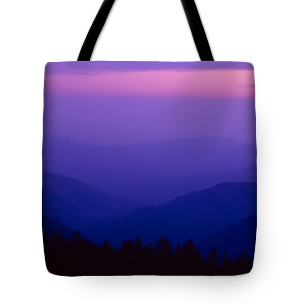 Elevated View Of Valley With Mountains Tote Bag