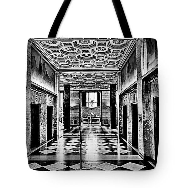 Tote Bag featuring the photograph Elevator Lobby S C E by Joseph Hollingsworth