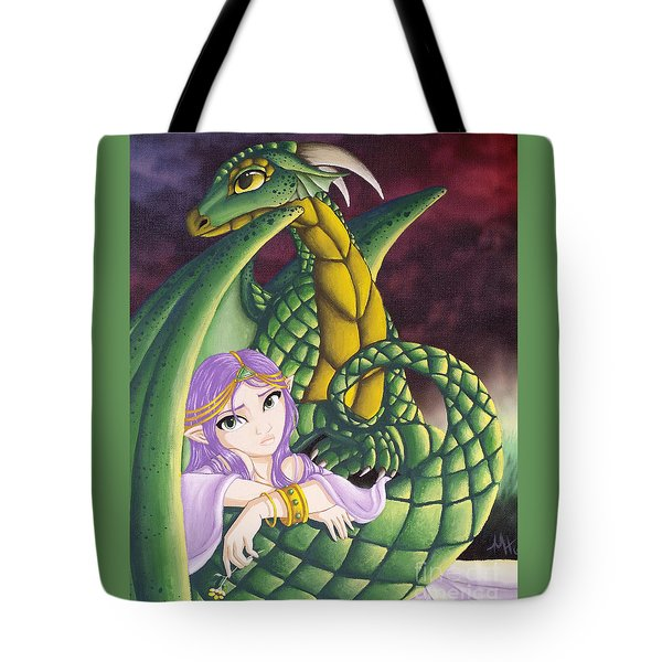 Tote Bag featuring the painting Elf Girl And Dragon by Mary Hoy