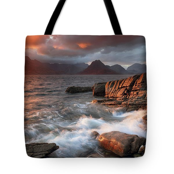Tote Bag featuring the photograph Elgol Stormy Sunset by Grant Glendinning