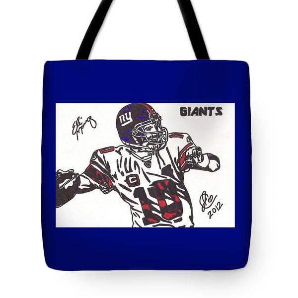 Tote Bag featuring the drawing Eli Manning by Jeremiah Colley