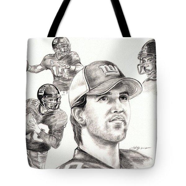 Eli Manning Tote Bag by Kathleen Kelly Thompson