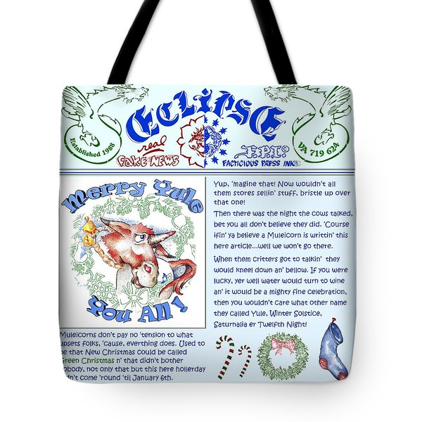 Real Fake News Merry Yule Column Tote Bag