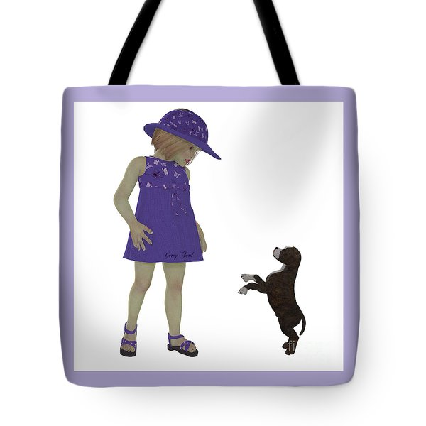 Eliza And Staffordshire Puppy Tote Bag