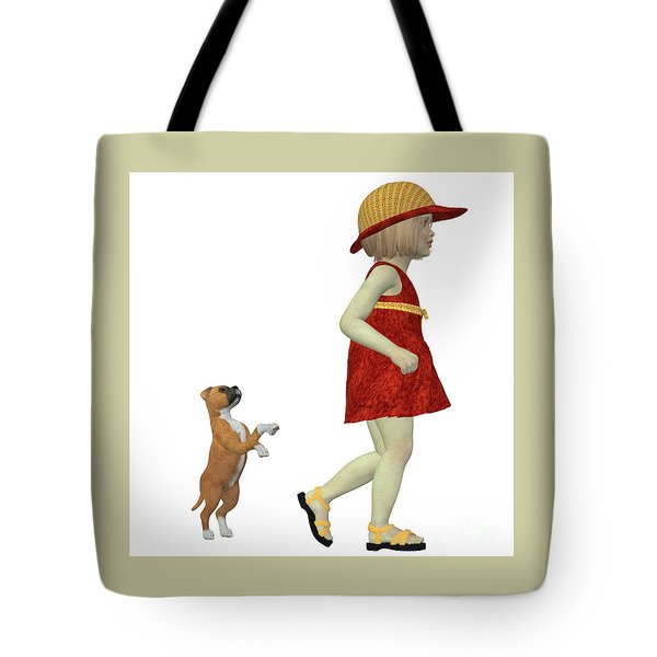 Eliza With Boxer Puppy Tote Bag