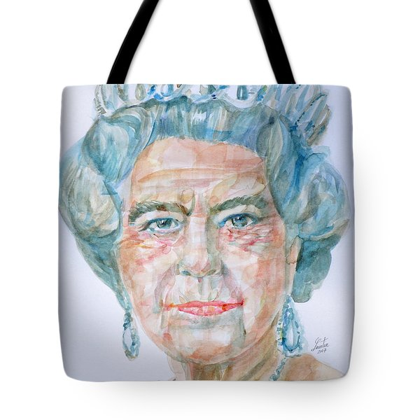 Tote Bag featuring the painting Elizabeth II - Watercolor Portrait.2 by Fabrizio Cassetta