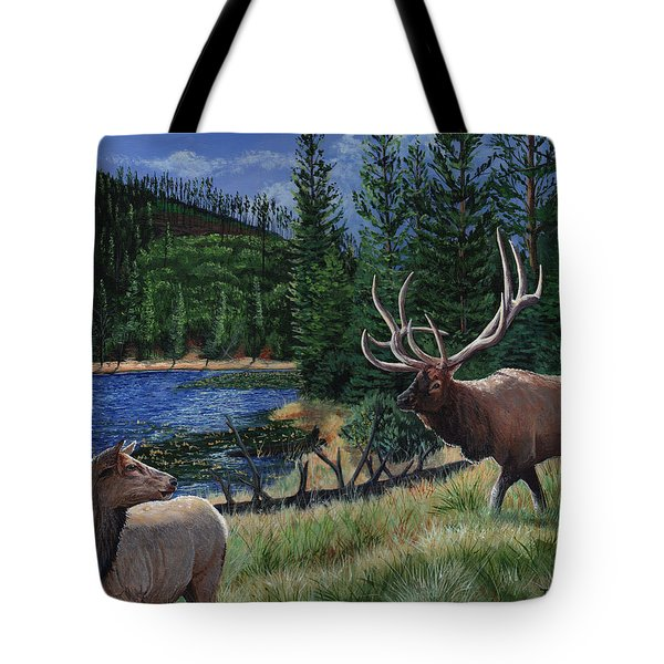 Elk At Beaver Lake  Yellowstone Tote Bag