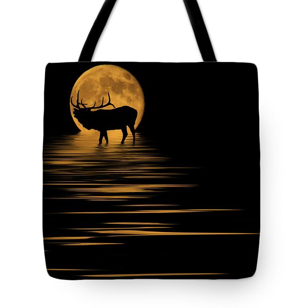 Elk In The Moonlight Tote Bag