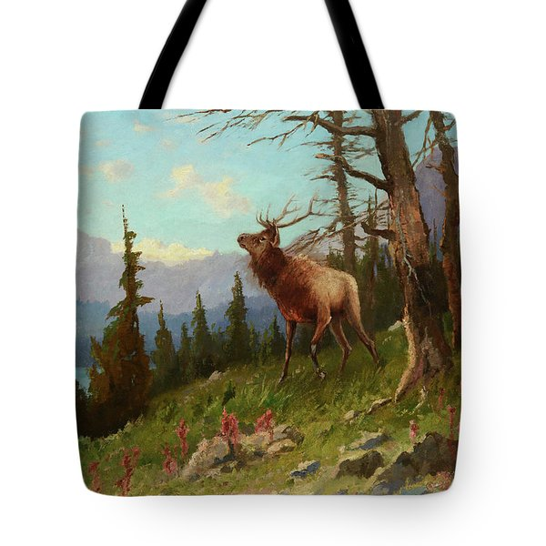 Elk In The Mountains Tote Bag