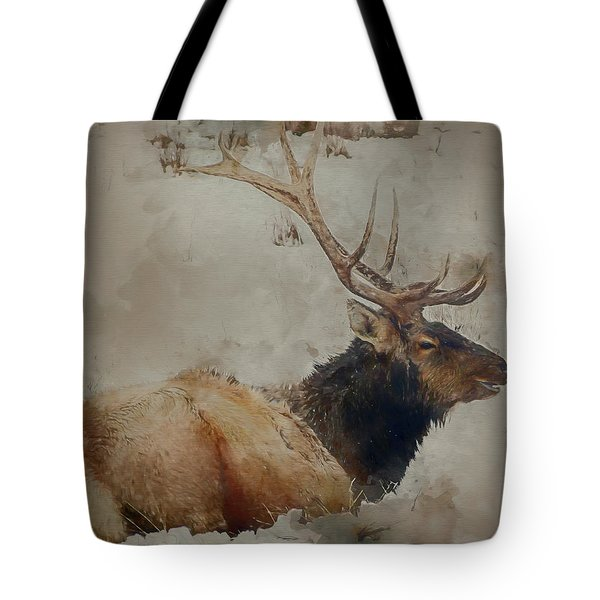 Elk In The Snow Tote Bag