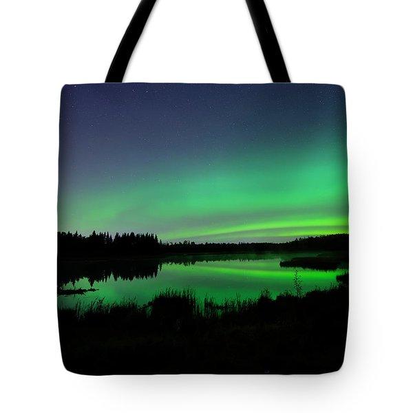 Elk Island Aurora Reflections Tote Bag