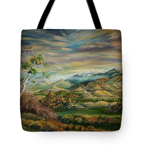 Tote Bag featuring the painting Elk Mountain Sunrise by Dawn Senior-Trask