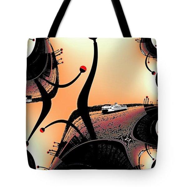 Elliott Bay Ferry Fractal Tote Bag