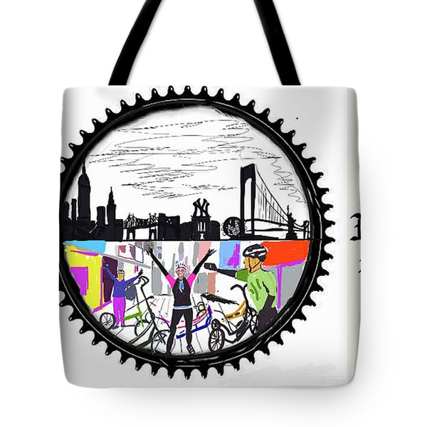 elliptiGO meets the 5 boros bike tour Tote Bag