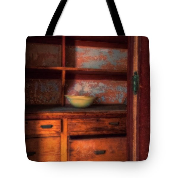 Tote Bag featuring the photograph Ellis Island Cabinet by Tom Singleton