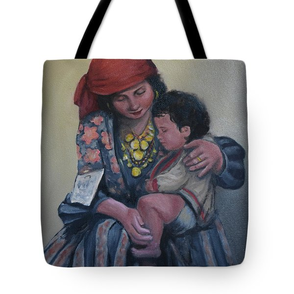 Tote Bag featuring the painting Ellis Island Gypsy Madonna by Sandra Nardone